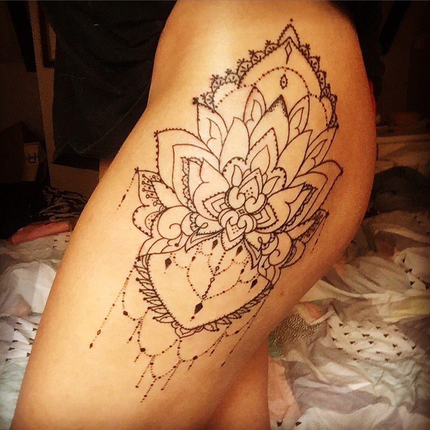 Newest Tattoo Linework Mandala Hip Tattoo Thigh Tattoo Dot