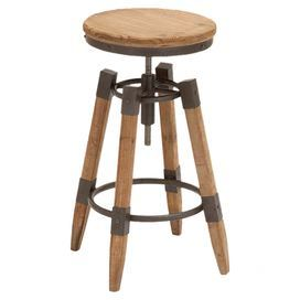 """Add a touch of industrial-inspired style to your breakfast nook for home bar with this adjustable wood and metal barstool.    Product: BarstoolConstruction Material: Wood and metalColor: NaturalFeatures: Lacquered finishHeight adjustable Dimensions: Small: 24-28"""" H x 13"""" DiameterLarge: 28-32"""" H x 13"""" Diameter"""