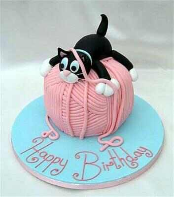 Cat And A Ball Of Wool Yarn Cake Birthday Greetings Wishes