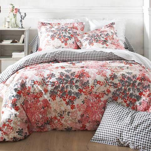 Housse De Couette Coton Reversible Imprimee Fleurs Et Pied De Poule Coquette Multicolore Vue 1 Couette Idee Chambre