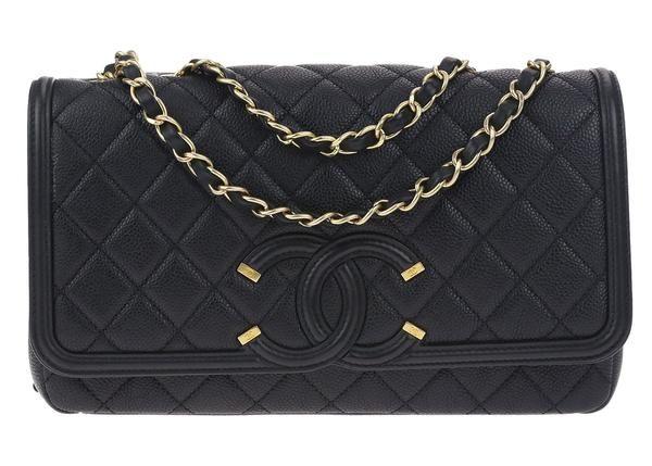 d1e048ec54c8 Chanel Black Caviar Leather CC Filigree Medium Flap Bag | New ...