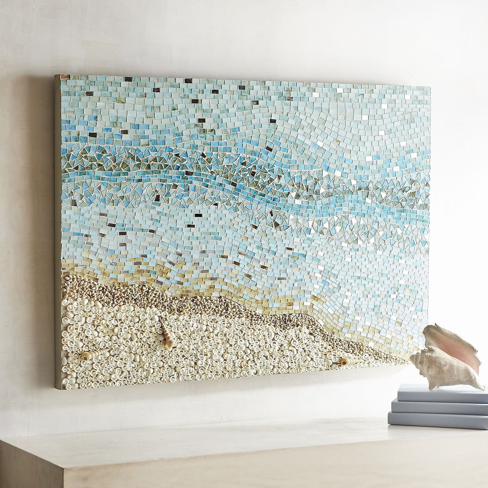 Cool Coastal Vibes With A Modern Touch Our Exclusive Wall Panel Reflects A Serene Shell Covered Beach And Coastal Wall Art Mosaic Wall Art Coastal Wall Decor