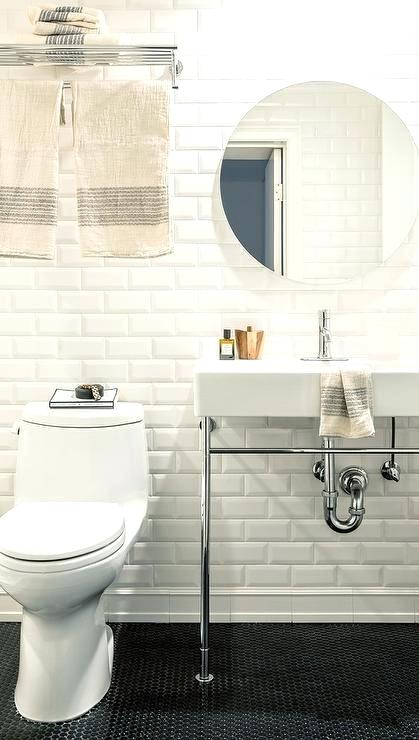 Black And White Penny Tile White Bathroom With Black Penny Tiles And Black Grout Black Whi Penny Tiles Bathroom White Beveled Subway Tile Bathroom Feature Wall