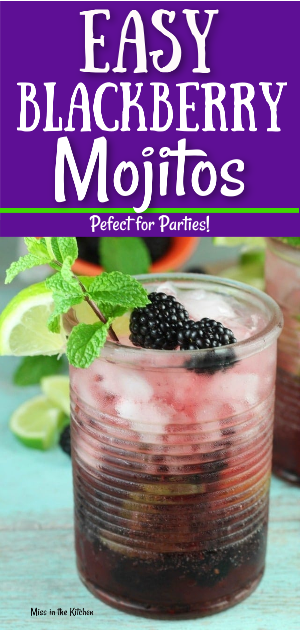 Easy Blackberry Mojitos are a super simple cocktail perfect for front porch sipping or entertaining friends. Blackberries, mint and lime create a fresh and delicious drink that you enjoy all year long! #blackberry #drinks #simplecocktail