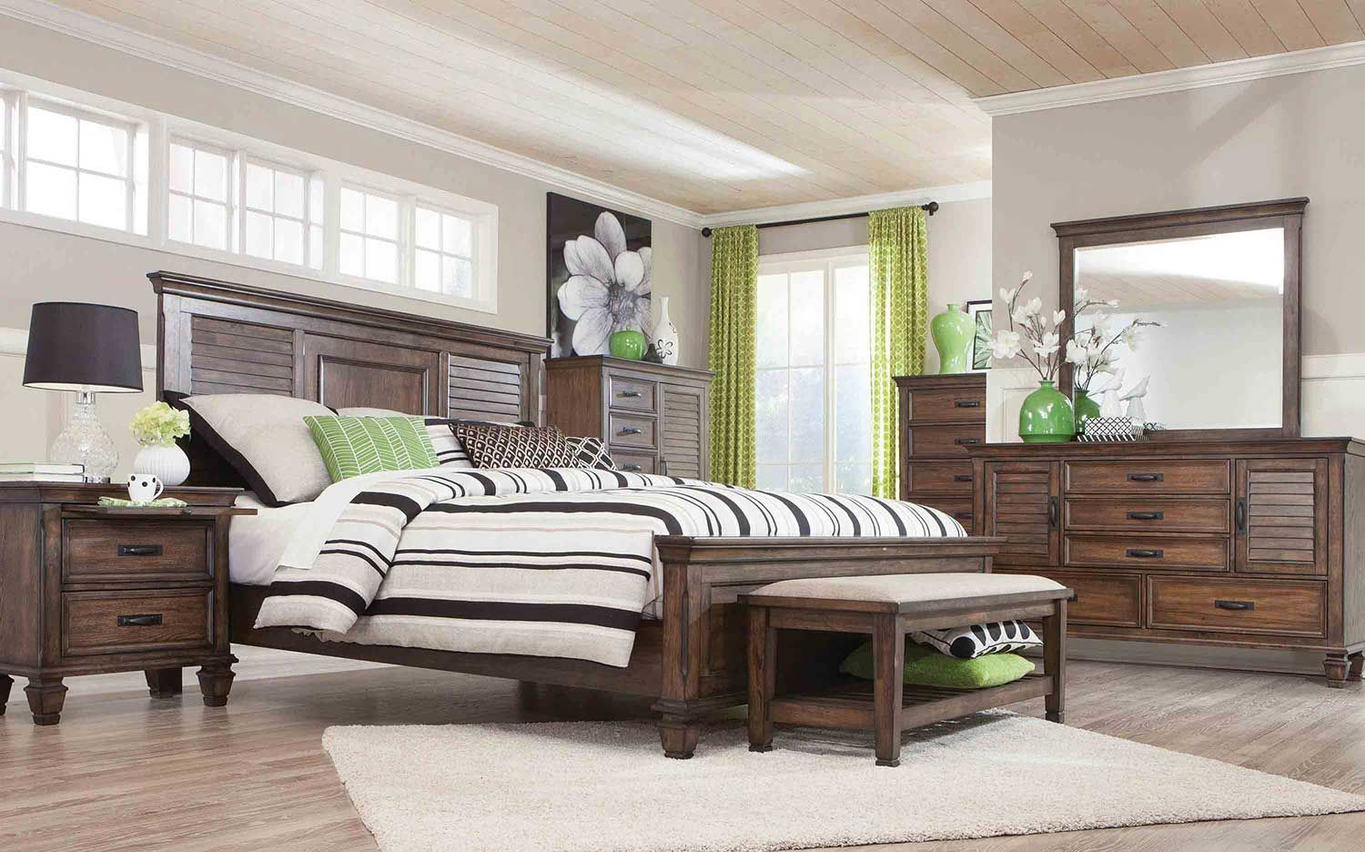 Perfect Coaster Franco Low Profile Bedroom Set   Burnished Oak