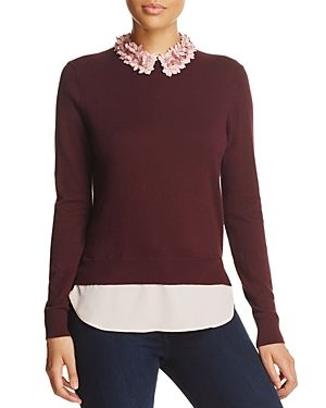 e0330015ac70 TED BAKER NANSEA FLORAL COLLAR LAYERED-LOOK SWEATER - 100% EXCLUSIVE.   tedbaker  cloth
