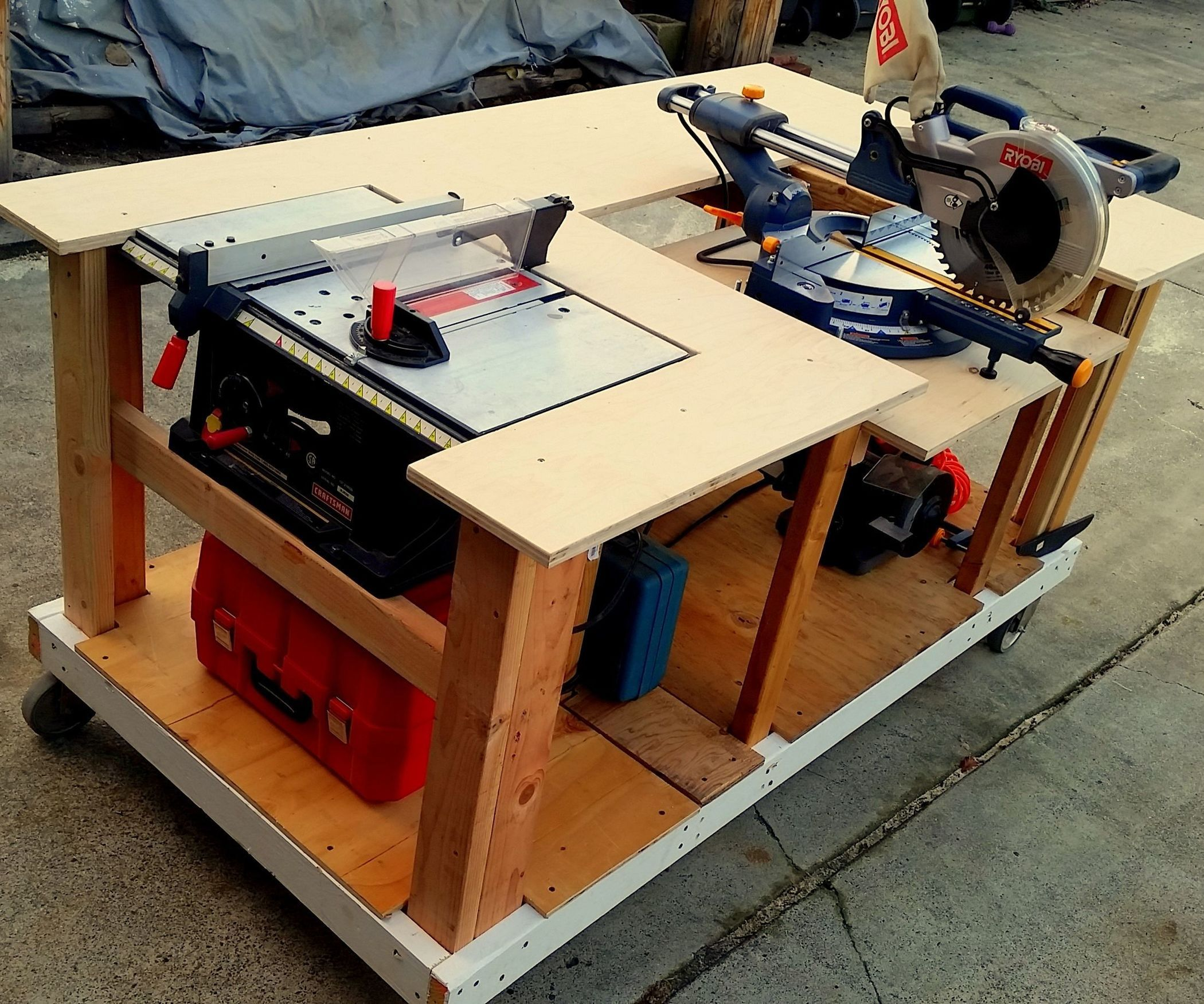 Woodworking Tool Bench Mobile Workbench With Built In Table And Miter Saws Garage