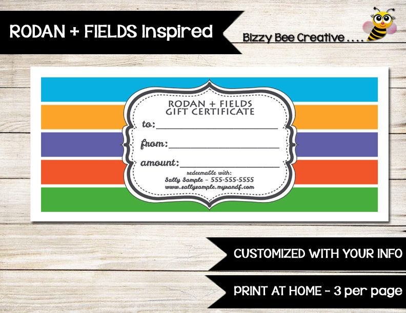 RODAN + FIELDS Gift Certificate | Gift Card | Customized | Print at ...
