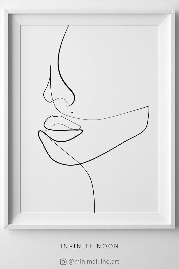Einfache eine Linie, die Gesichtsabbildung zeichnet. Minimalistischer Originaldruck Wandkunst. EIN #face
