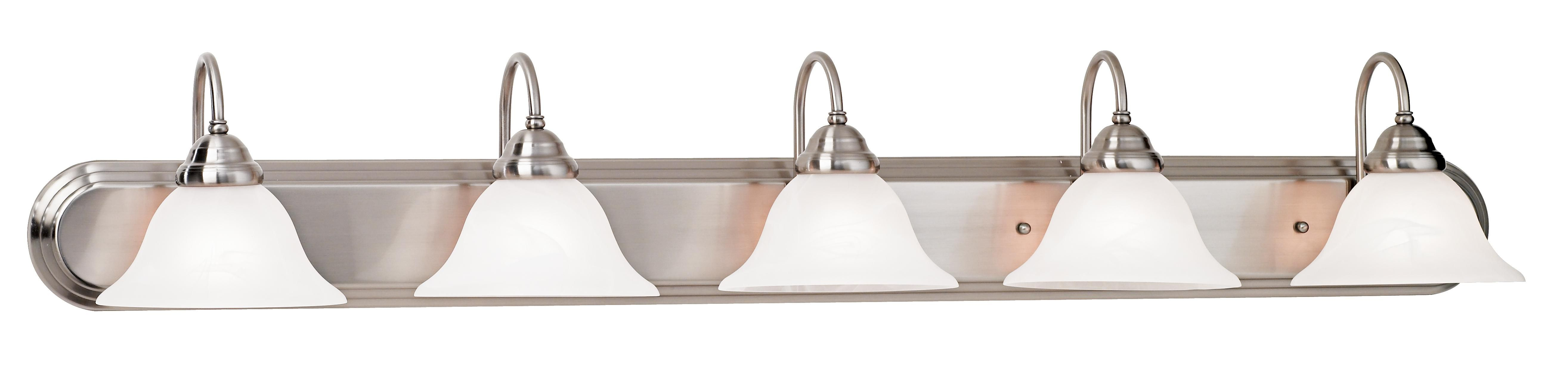 """Brushed Steel and Marbleized Glass 48"""" Wide Vanity Light ..."""