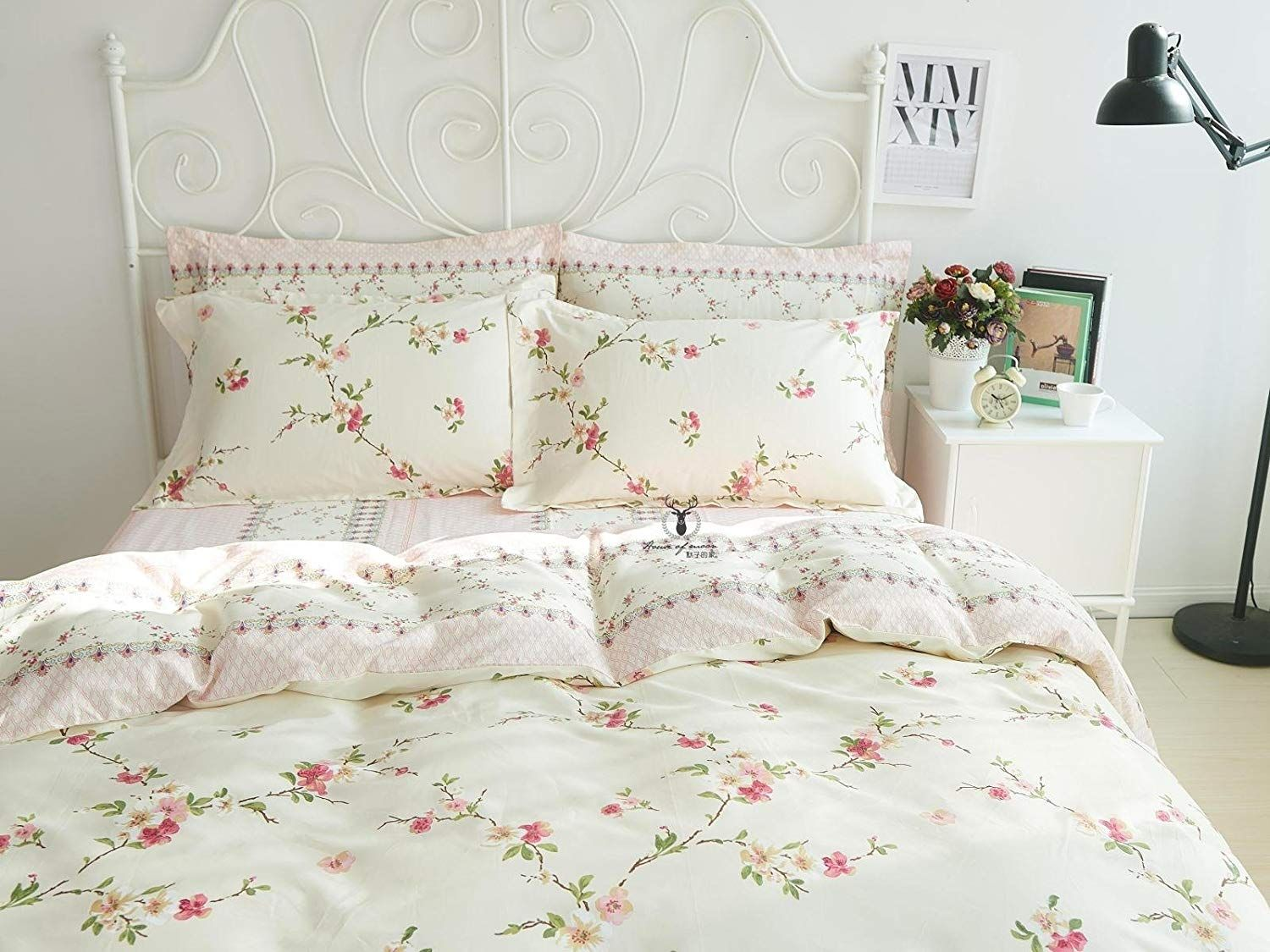 Fadfay Girls Shabby Duvet Cover Sets Floral Cotton Bedding Set