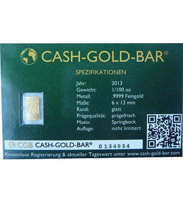 Goldbarren Cash Gold Bar 1 100 Oz Springbock 2013 Feingold 0 31 G Sparen25 Com Sparen25 De Sparen25 Info Goldbarren Gold Ebay