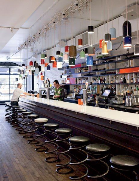 the bar at parts labour restaurant which occupies a former hardware store space