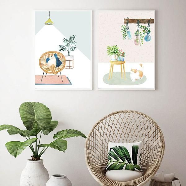 Watercolor Cat with Plants Canvas Posters.  Order Today and Get Free Worldwide Shipping. #poster #print #art #wallart #artprint