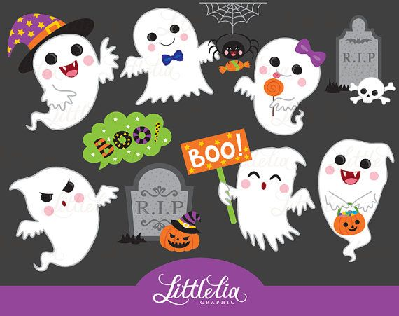 Lindo fantasma fantasma clipart halloween por LittleLiaGraphic