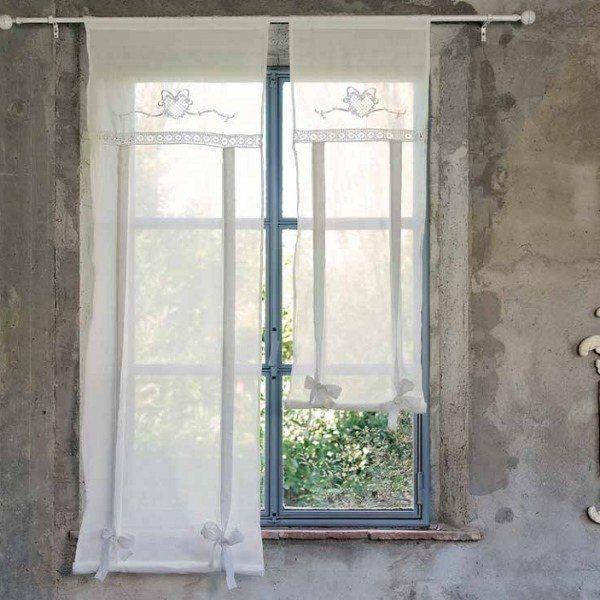 Store rideau shabby chic blanc mariclo wn trza prowansja - Rideaux shabby chic ...
