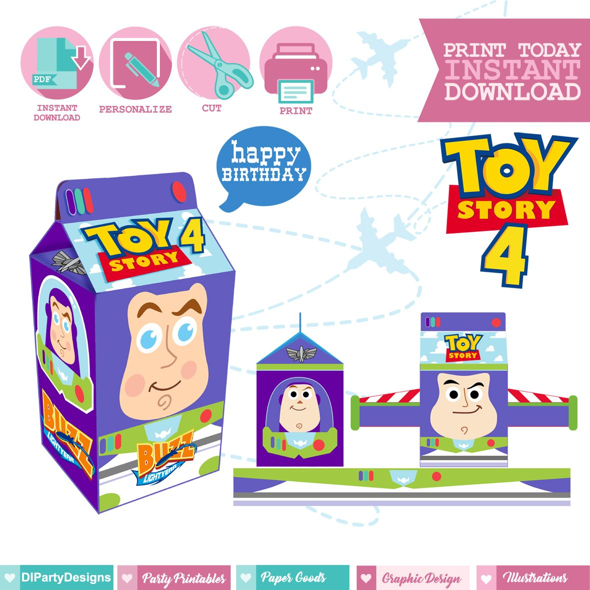 Printable And Personalized Box For Buzz Toy Story 4 We