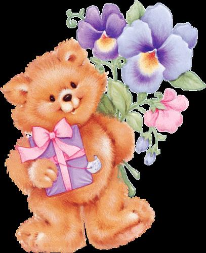 понравившийся открытка мерцающий медведь с букетом карано одна