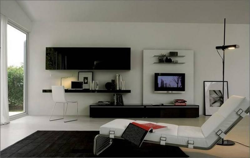 Amazing Living Room Apartment Design With White Wall Paint Color Using Wall  Mounted Wall Units Set