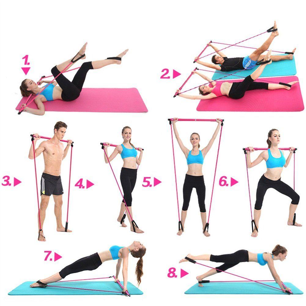 Pilates Resistance Band Exercise Bar Stick   Pilates workout routine, Pilates  workout, Bar workout