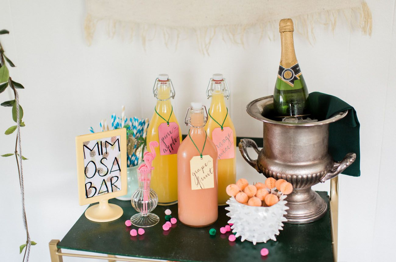 TropicalInspired Bridal Shower with a Donut Wall