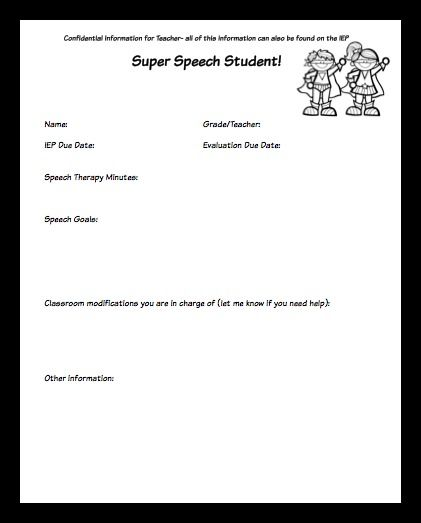 SLP Back To School Tips and Free Student Profile Sheet - Pinned by ...
