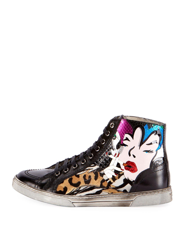 d7373dc1cc4ba Saint Laurent Antibes Patchwork Leather High-Top Sneaker