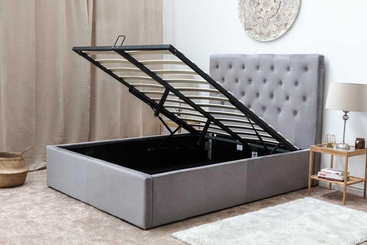 Eltham Grey Velvet Upholstered Lift Up Ottoman Storage Bed Frame Double King Size Ottoman Storage Bed Double Bed Frame Bed Frame