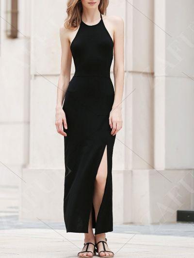 Black Side Slit Halter Maxi Dress BLACK: Maxi Dresses   ZAFUL
