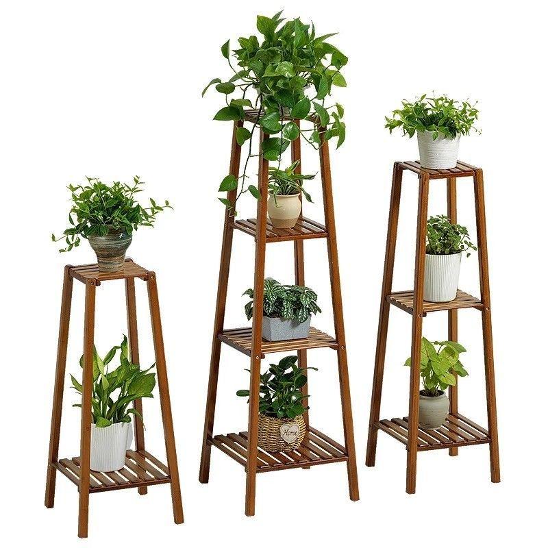 Bamboo Wooden Shelf Plant Stand Ladder Book Shelf Storage Indoor Outdoor Ebay Bamboo Decor Wooden Plant Stands Plant Stand