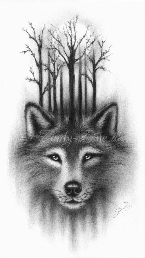 Forest Wolf Moon Spirits Midnight Art Print Emo Fantasy Tree