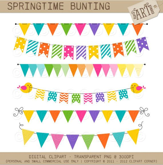 Digital Clipart - Party Flags / Bunting Springtime (DC-9387 ...