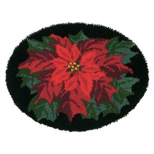 Poinsettia Oval Latch Hook Rug Kit