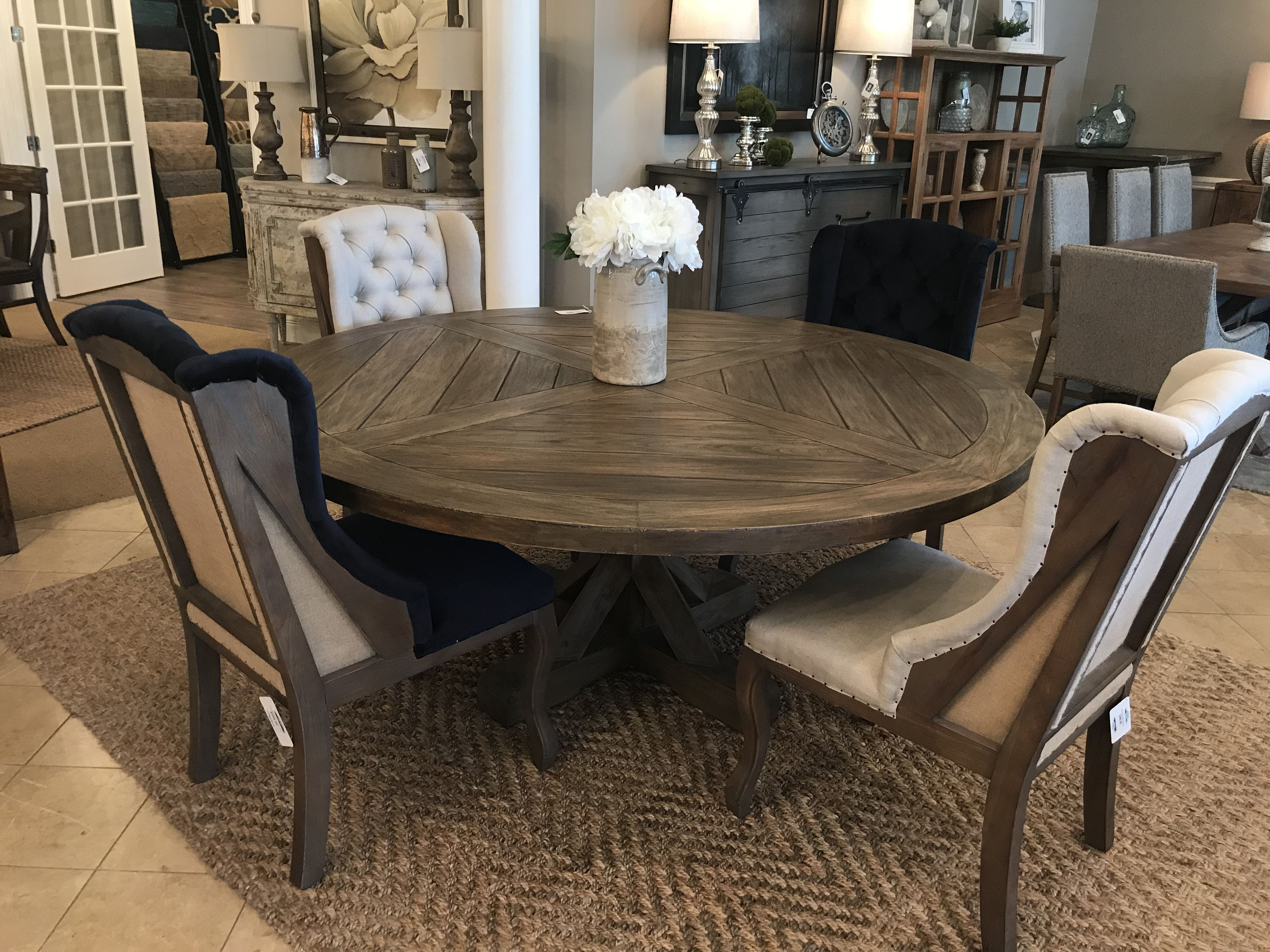 Branham 72 Round Mahogany Trestle Dining Table Black Wash