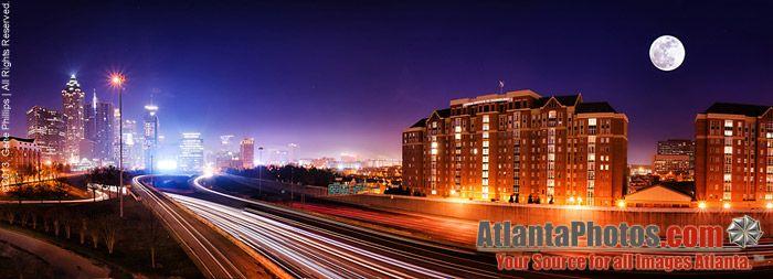 The Moon Over Georgia Tech Dorms With The Downtown Atlanta Skyline - Distance to atlanta georgia