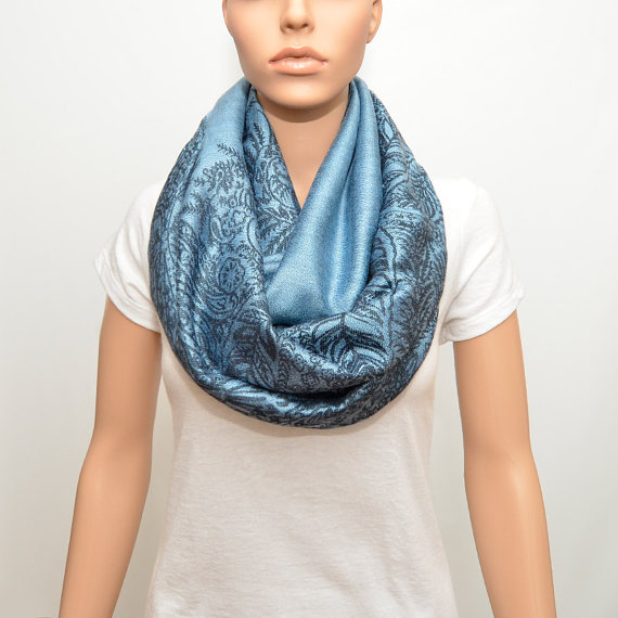 Ice Blue Infinity Scarf with floral pattern  by NyUrbanAccessories