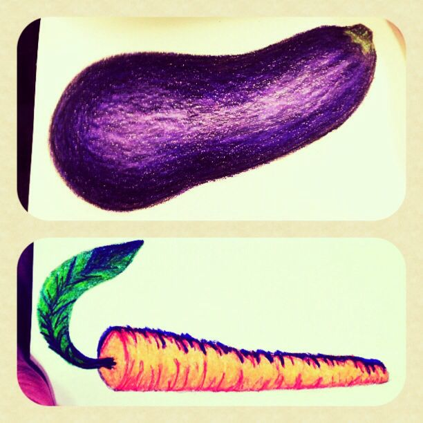 Vegetable Series: Eggplant and Carrot #1drawingaday