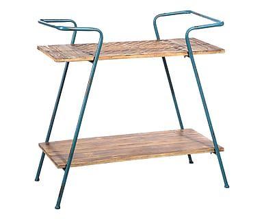 Scaffale a 2 ripiani in legno di abete e metallo naturale e blu, 82x76x41 cm