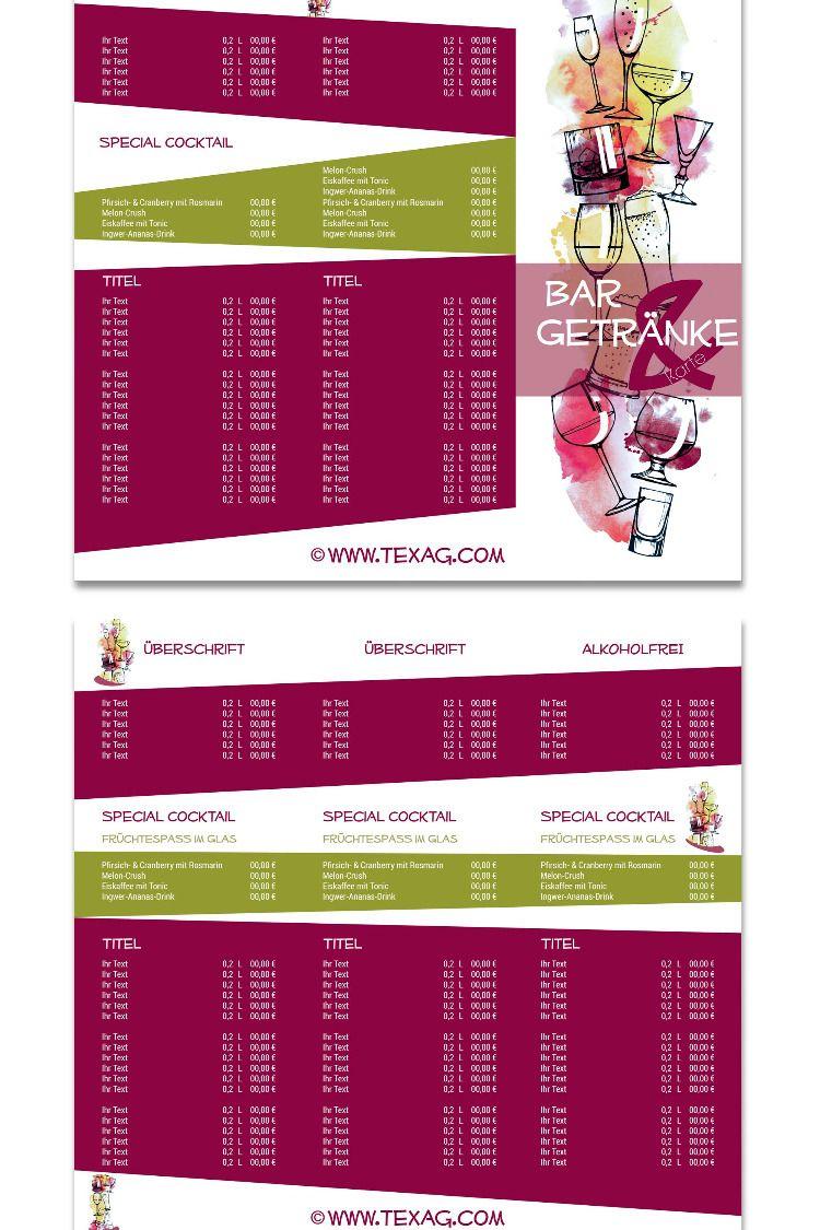 Getrankekarte Vorlage Flyer 6 Seitig Wickelfalz 105 X 297 Mm Ab 45 Designvorlagen Getranke Karte Vorlagen