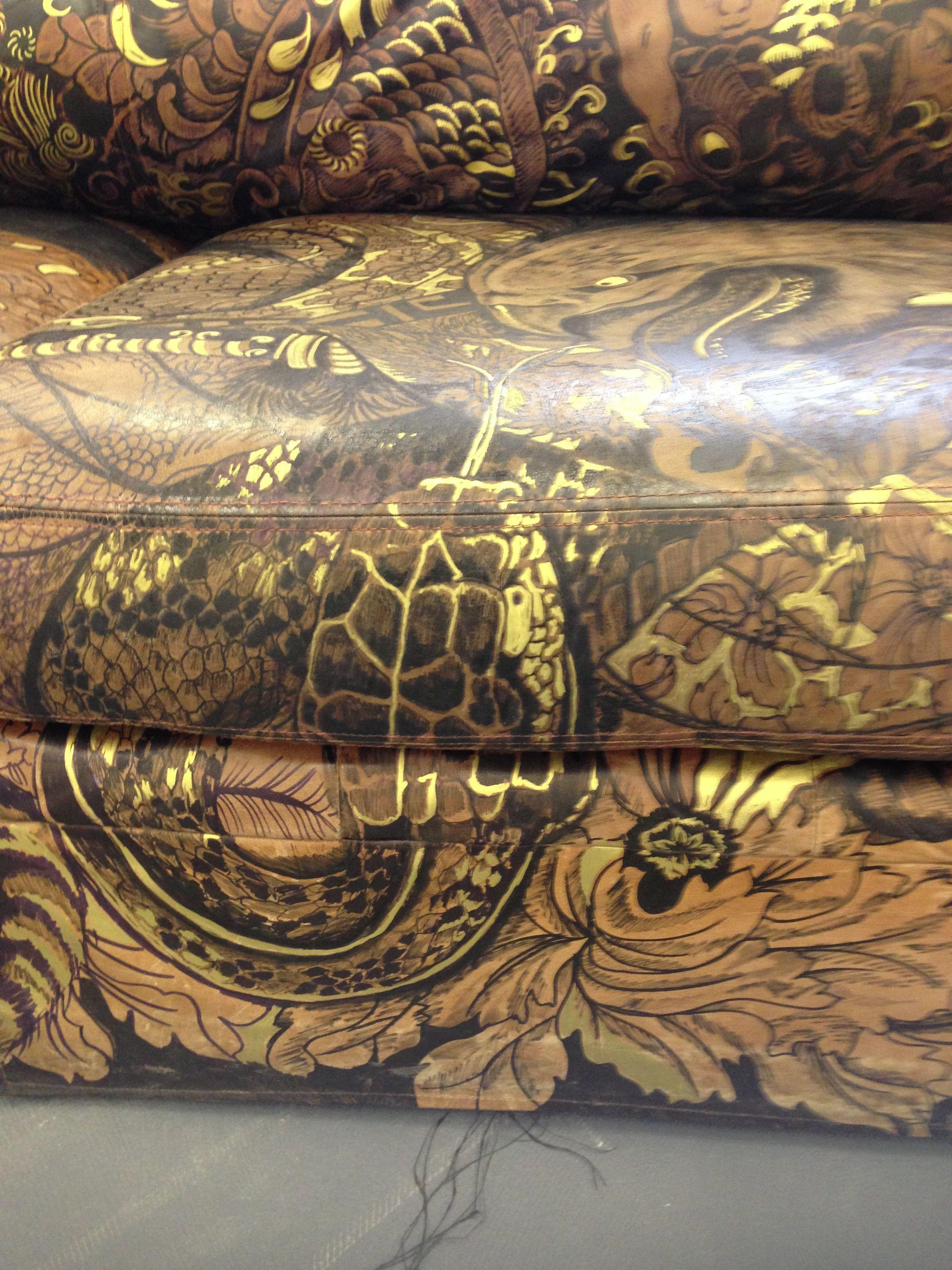 Detail of leather sofa handpaintrd based on japanese