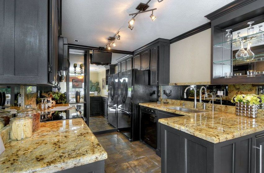 Small Kitchens with Dark Cabinets (Design Ideas) Transitional