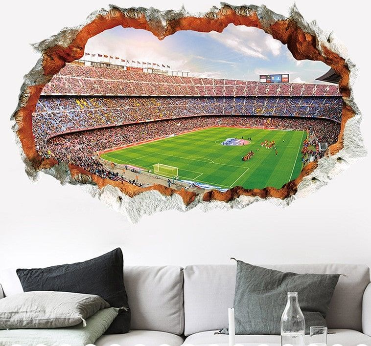 3d Trick Art Wall Sticker Football Stadium In 2020 Wall Decals For Bedroom Wall Decal Boys Room Wall Stickers Home Decor