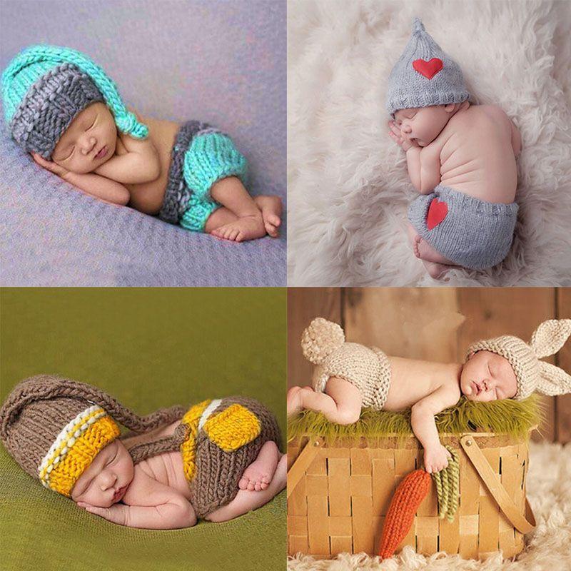 Baru Lahir Bayi Lucu Crochet Knit Kostum Foto Fotografi Prop Pakaian Bayi Hat Photo Props Baru Lahir Bayi Perempuan Pakaian Lucu Baby Girl Newborn Crochet Baby Costumes Baby Boy Outfits