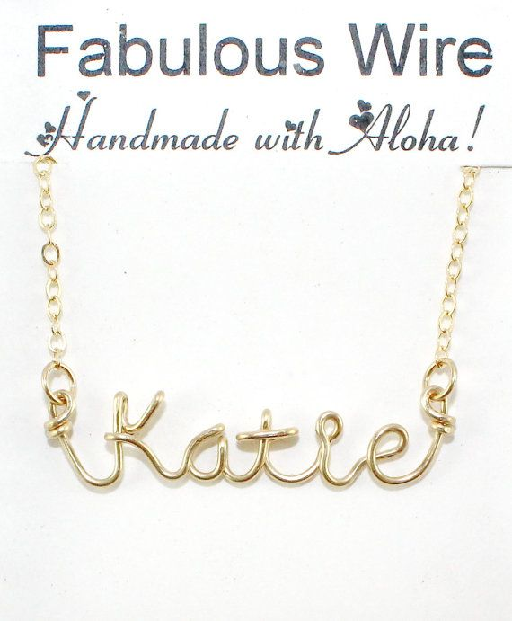 cec764e4846c3 Gold Wire Name Necklace, Personalized Name Jewelry, Custom Made Wire ...
