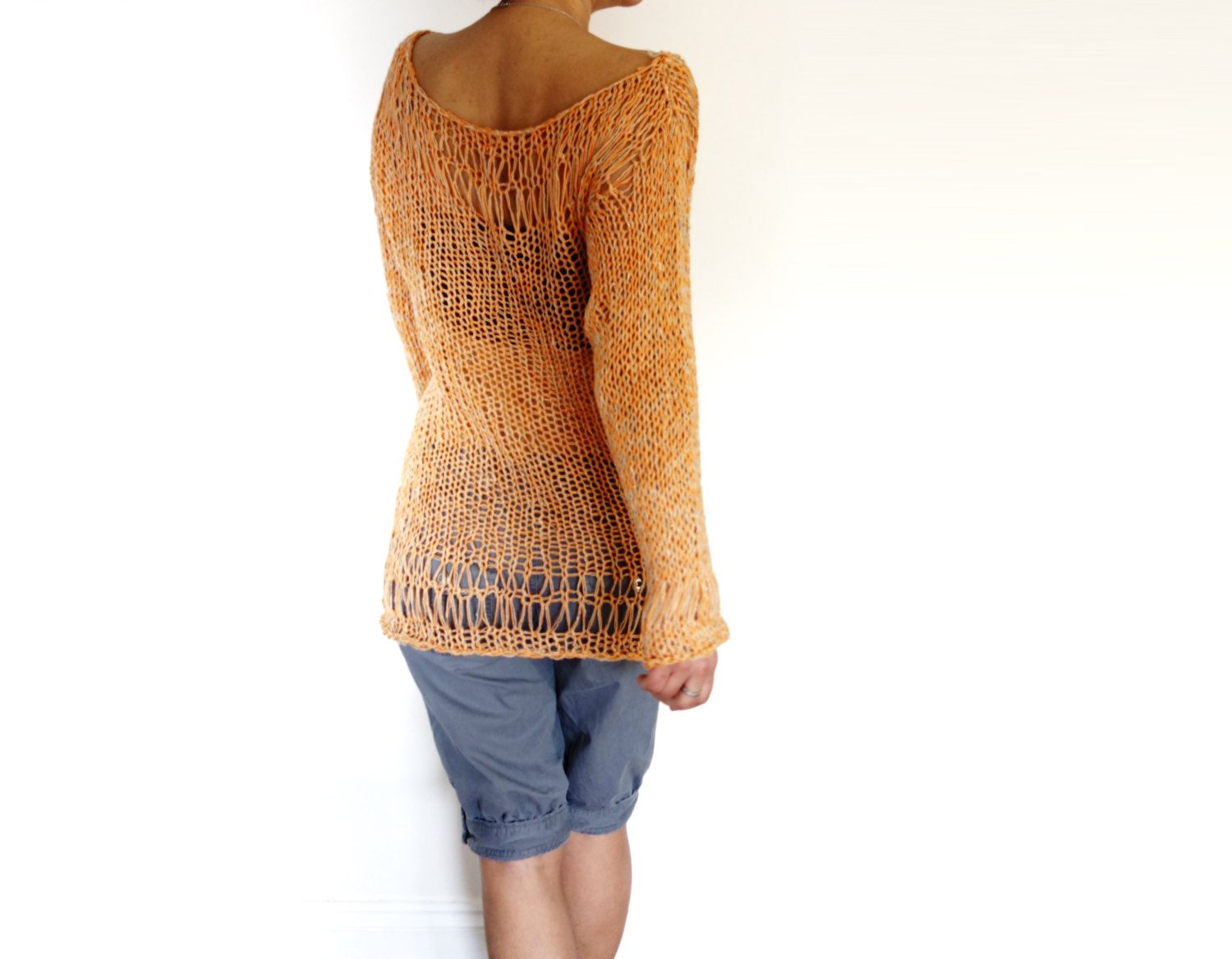 Knitting Pattern - Sunset Sweater/Loose Laced Knit Beach Cover Up ...