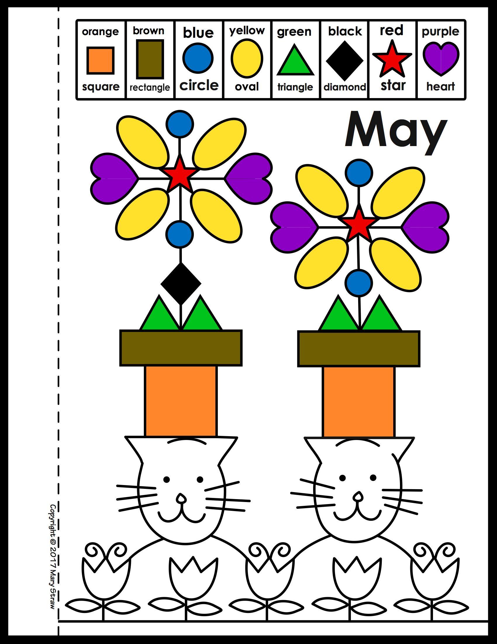 """Cats in Hats"" Calendar SHAPE + COLOR Activity Calendar"
