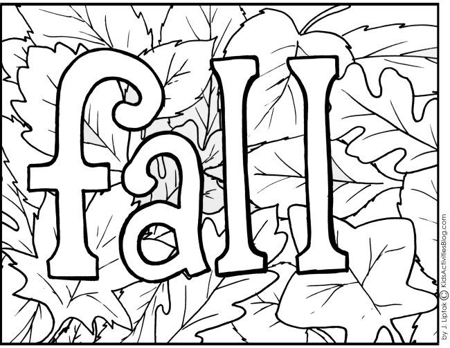 Printable coloring page fall with leaves and some activities
