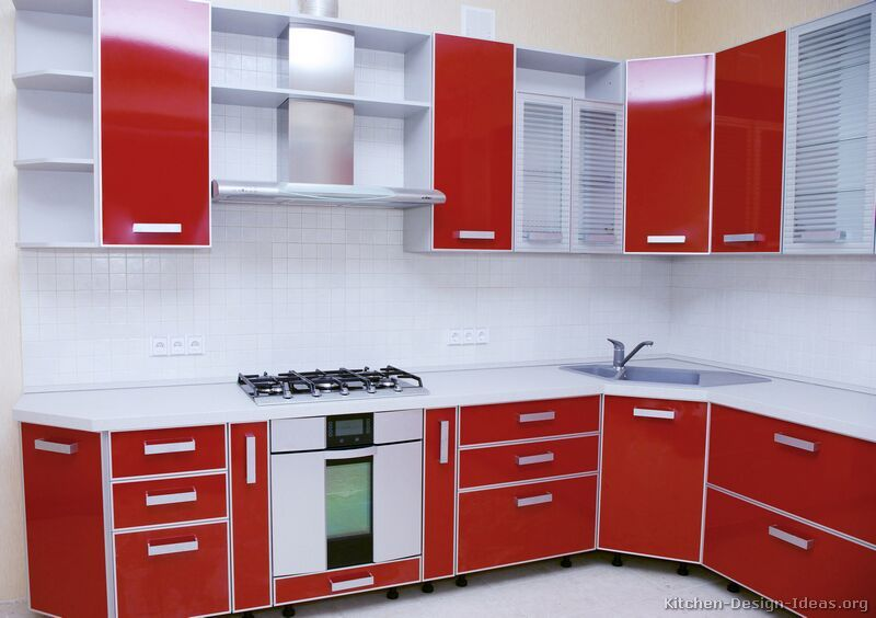 Modern Two Tone Kitchen Cabinets 07 Kitchen Design Ideas Org Red And White Kitchen Cabinets Kitchen Furniture Design Custom Kitchen Cabinets