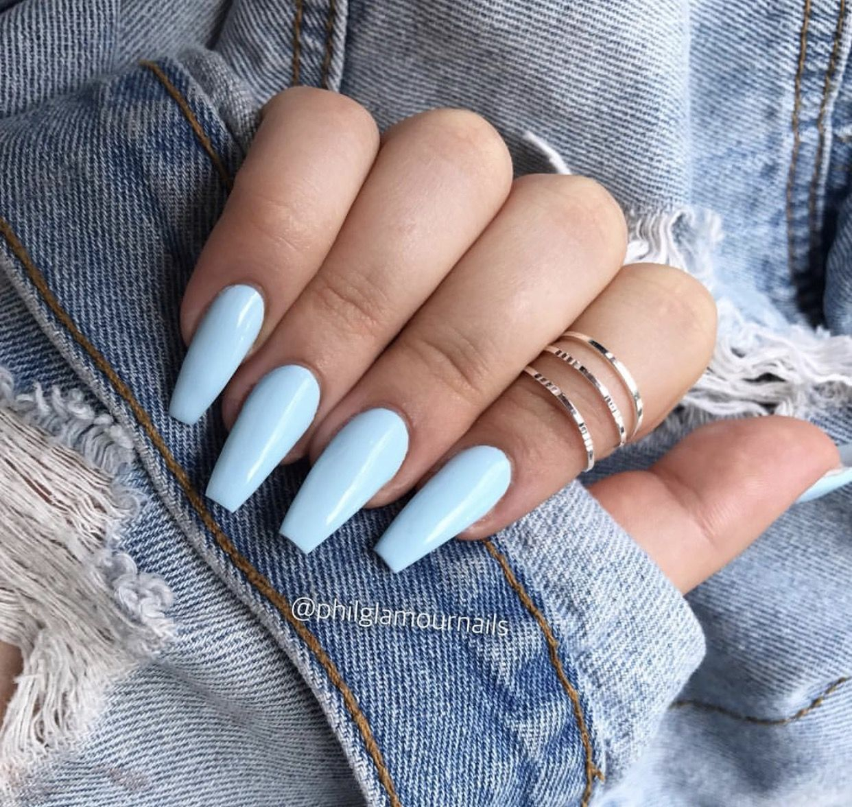 Beauty Nails Baby Blue Blue Nails Acrylics Acrylic Nails Blue Acrylic Nails Pretty Acrylic Nails Coffin Shape Nails