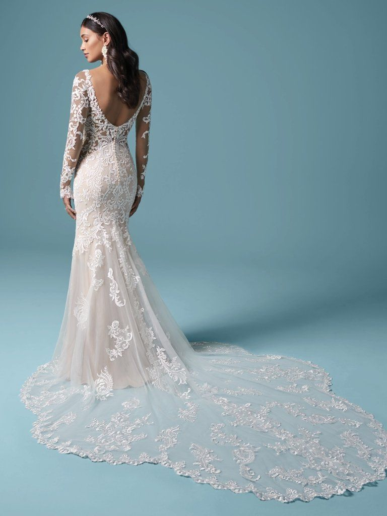 Lydia By Maggie Sottero Wedding Dresses In 2020 Maggie Sottero Wedding Dresses Sheath Wedding Dress Lace Wedding Dress Long Sleeve